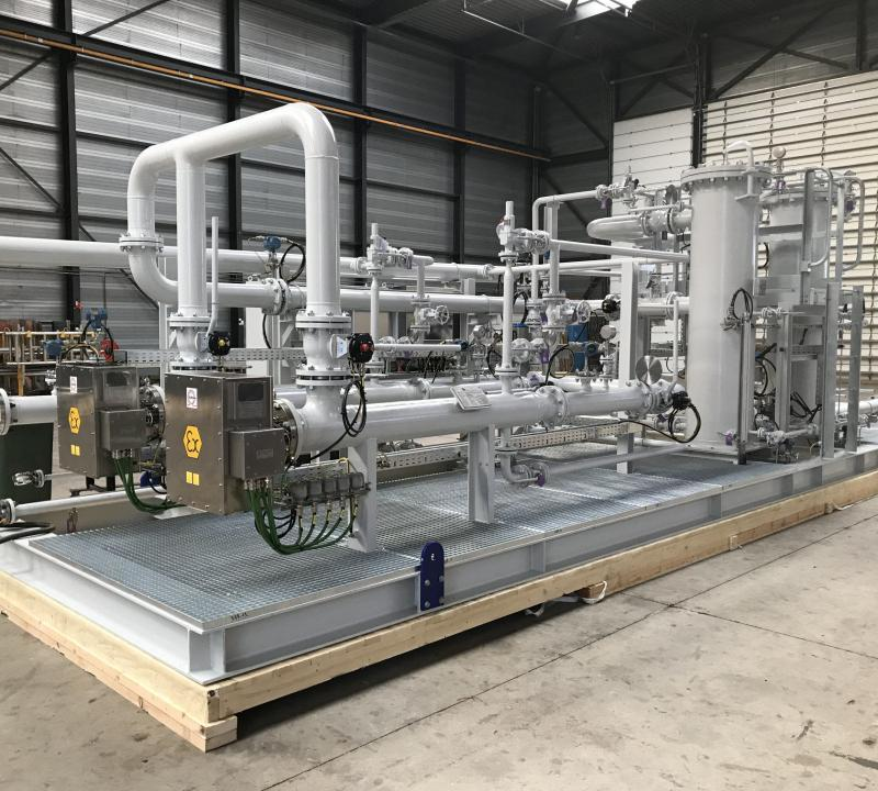 Fuel gas treatment package for power plant